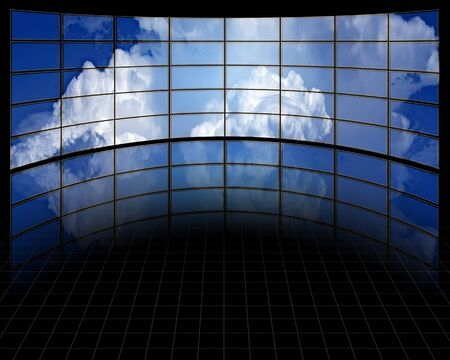 high definition: Large Screens with Clouds Stock Photo