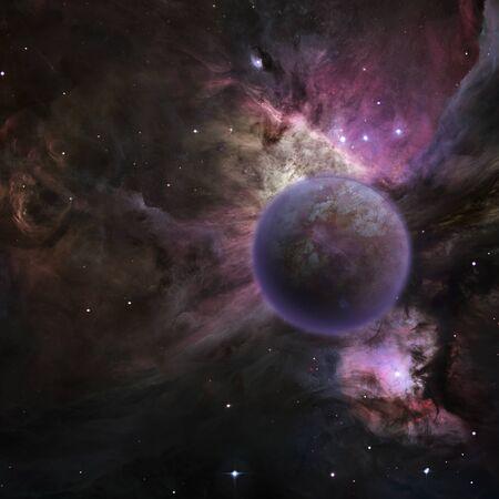 other keywords: Mysterious planet, purple nebula