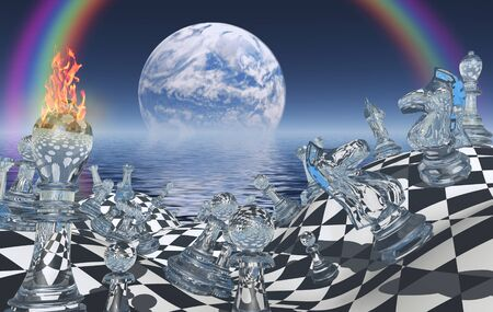 Surreal chess board with figures. Planet rising above ocean.