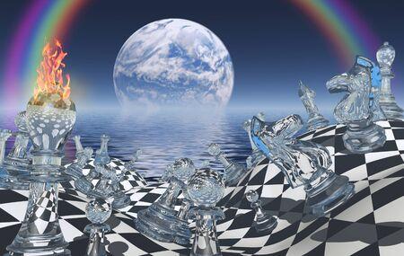 figuras abstractas: tablero de ajedrez surrealista con figuras. El planeta se levanta sobre el océano. Foto de archivo