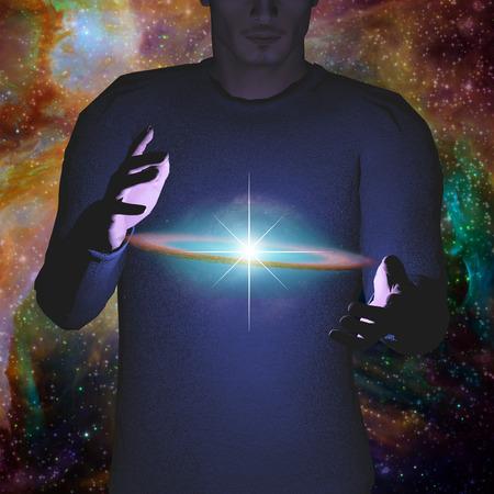 science symbols metaphors: Man holds galaxy between his hands