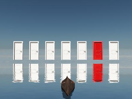 Ordinaire One Red Door Among Seven Floating Doors. Stock Photo   66295712