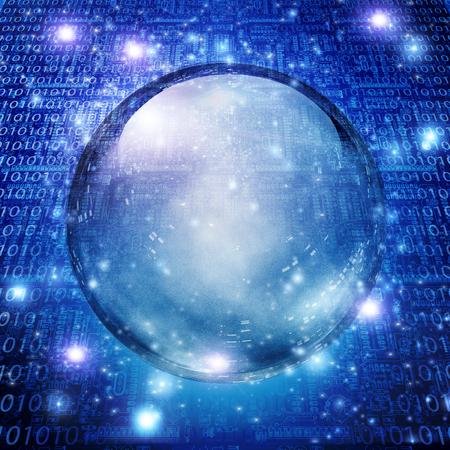 programming code: Empty sphere and machine background