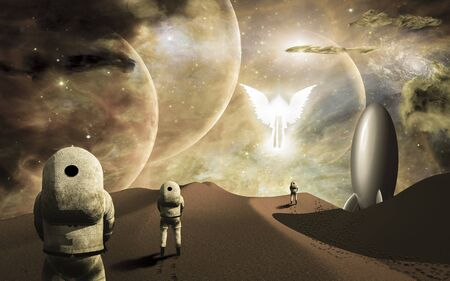 a courtesy: Astronauts on alien planet and their rocket ship  greeted by angelic glowing winged figure. Some elements provided courtesy of NASA