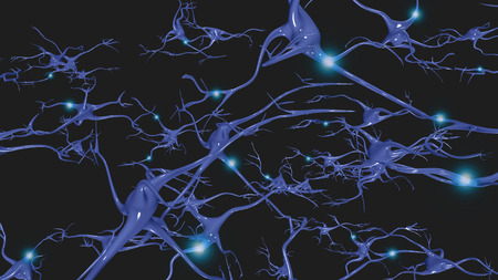 firing: Brain cells with electrical firing Stock Photo