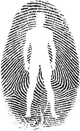 mans: Mans silhouette in fingerprint.