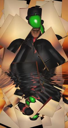 partly: Man in dark suit hidden face partly underwater