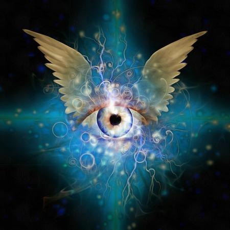 messengers of god: Gods eye with wings Stock Photo