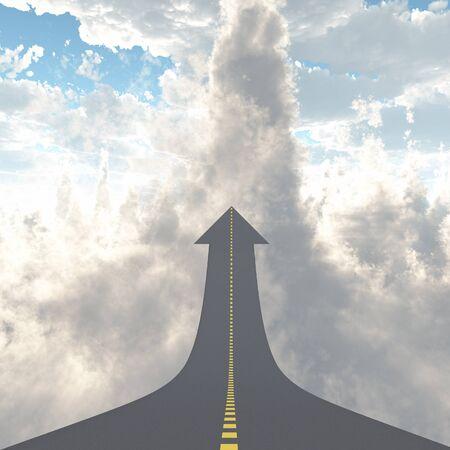 Road in the clouds. Reklamní fotografie