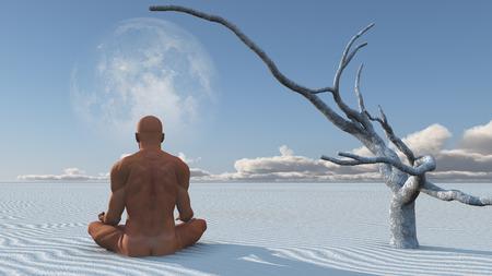 Man Meditates on white sands Stock fotó