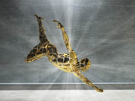 render: 3D render. Mens figure made of gold with light rays. Stock Photo