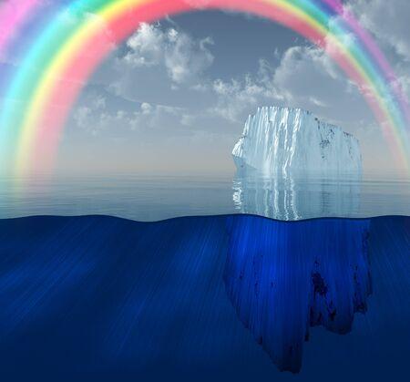 Rainbow over Iceberg in ocean Stock Photo