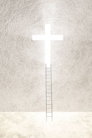 Ladder leads to bright cross
