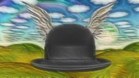 Winged Hat in surreal landscape