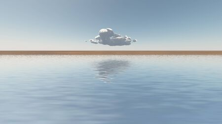 harmony nature: Single cloud floats on the horizon Stock Photo