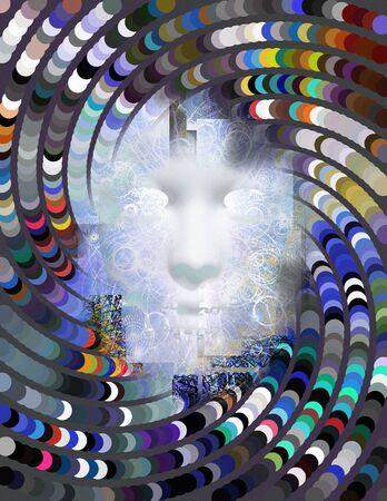 cuadros abstractos: Mítica abstracta de la cara Foto de archivo