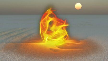 Fire burning in desert Sands Stock Photo