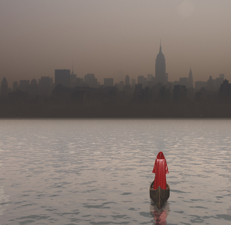 Figure in red cloak in a boat. Cityscape of New York.