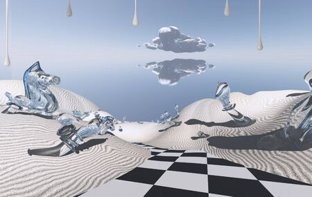 unreal unknown: Abstract desert with chess boards road and figures.