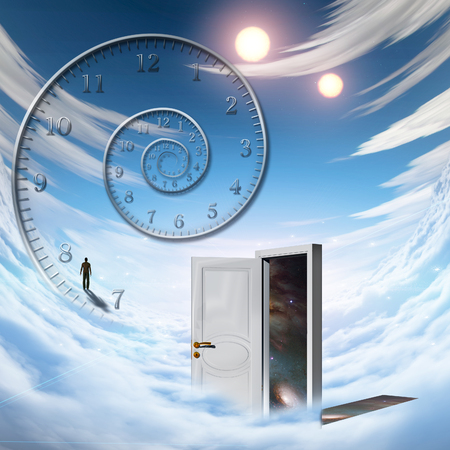 suspenso: White door, spiral of time, man walking on a cloud