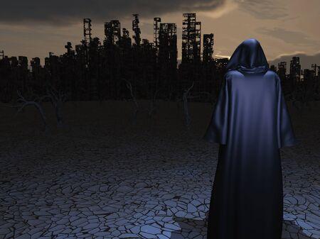 traveler: Traveler before the destroyed city