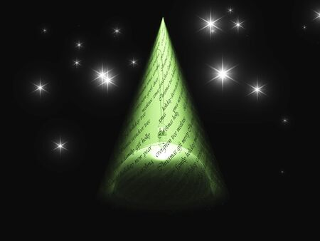 other keywords: Christmas text with light in shape of tree reveals Christmas ornament