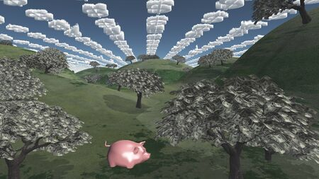 Tress of currency and dollar symbol clouds