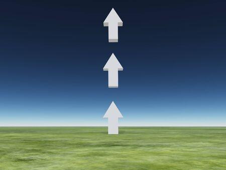 improving: Arrows point upward Stock Photo