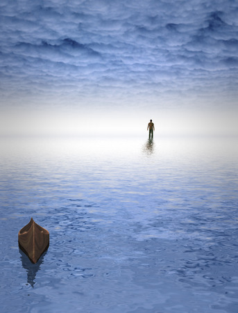 beyond: Figure of man before bright light. Empty boat.