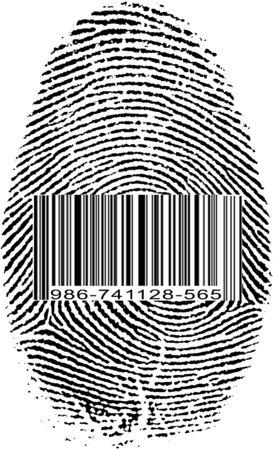 Vingerafdruk van de streepjescode Stockfoto - 68176298