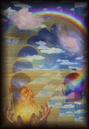 chakra awareness: Spiritual composition with fire in hands and human head with galaxy contained rainbow and cloud  Some elements provided courtesy of NASA