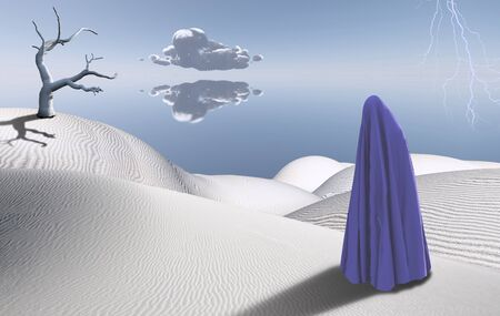 Surreal desert with dried tree. Figure of man in clothes similar to hijab. Lightning in the sky. Banque d'images