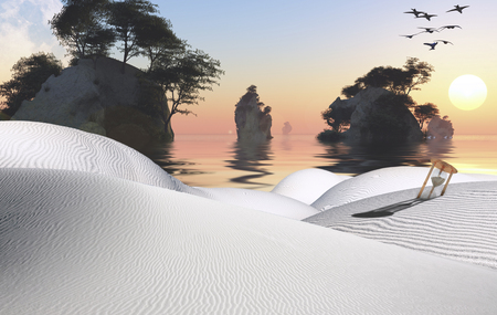 unreal unknown: Surreal white desert with hourglass. Beautiful sunset over islands.