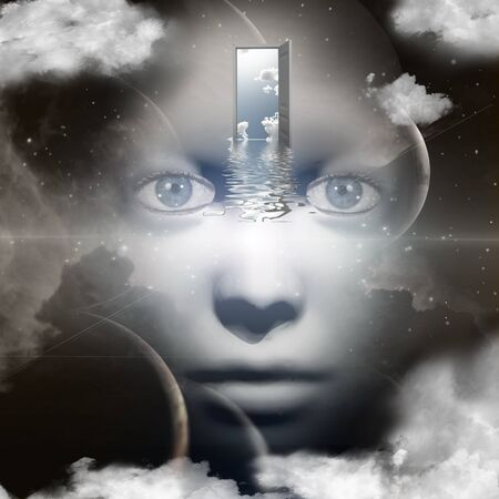 unreal unknown: Womans face in space. Opened door to another world. Stock Photo