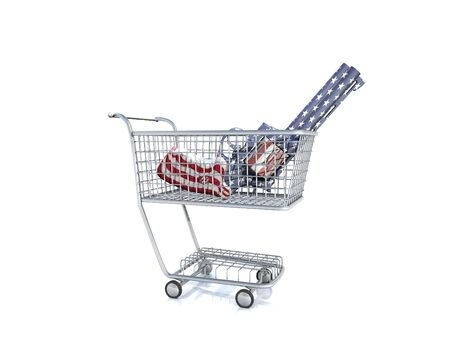 national colors: Gun in national colors in a cart. Stock Photo