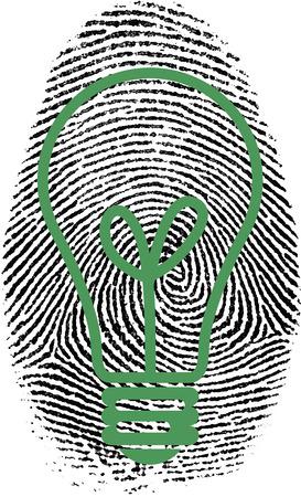 fingermark: Light bulb silhouette in fingerprint.