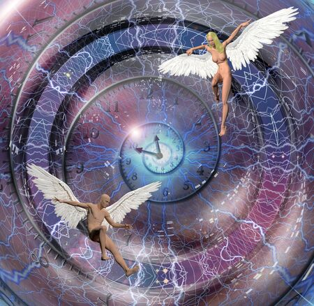 astral: Figures of man and woman with angel wings. Spiral of time. Stock Photo