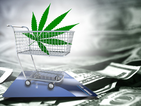 spending money: Marijuana leaf  in a cart. US dollars and credit card. Stock Photo