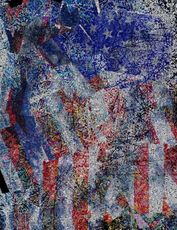 national colors: Abstract painting. US national colors