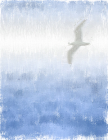 canvas: Painting. Seagull.