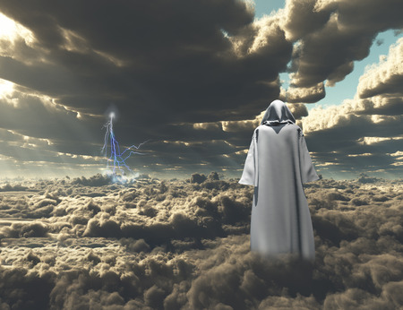 unreal unknown: Figure in cloak stands on field of clouds.
