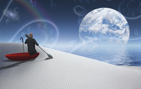 Surreal painting. Man in red umbrella floating on white desert. Big moon rising above ocean.