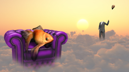 3d weird: Golden fish in armchair on a clouds. Man in a suit holds his head as a balloon.