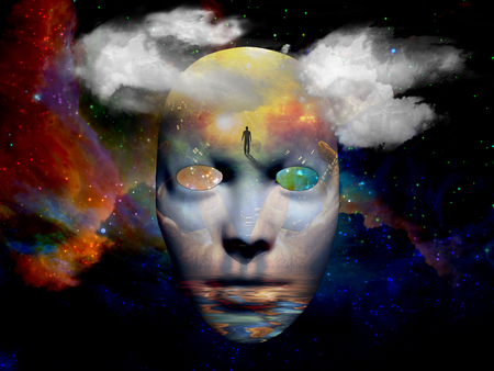 mystical: Mask with surreal painting in the space