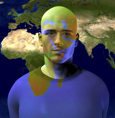 persian gulf: Middle East Superimposed on Mans Face