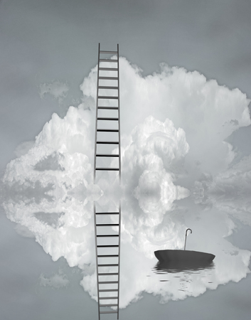 heights job: Ladder reflected in water with floating umbrella