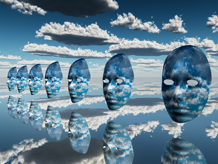 multiple disembodied faces hover in surreal scene Stock Photo