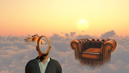 unreal unknown: Faceless man above clouds. Golden fish and armchair.