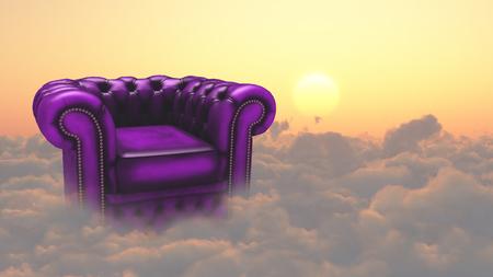 肘掛け椅子、雲の上。 写真素材