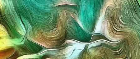 녹색의 생생한 색조에 추상 회화입니다.
